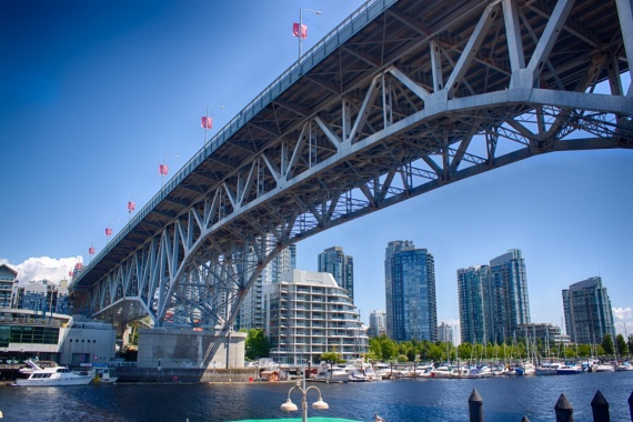 Bridge from Granville Island to Vancouver (Downtown) <br>Granville Island, British Columbia, Canada, 2014 by Lennart Wörmer <br>#14