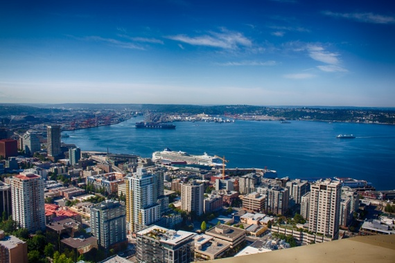 A wonderful panoramic view from the Space Needle.   <br>Seattle, Washington, USA, 2014 by Lennart Wörmer <br>#24