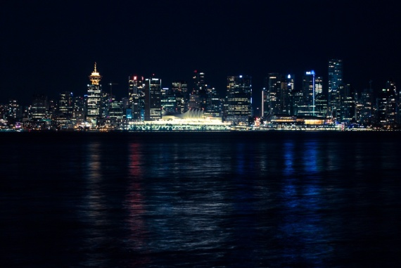 Skyline of Vancouver at night with some beautiful colors in the water. <br>Vancouver, British Columbia, Canada (photo taken from North Vancouver), 2014 by Lennart Wörmer <br>#27
